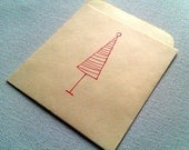 Gift Card Holder - Simple Holiday Tree Library Pocket - (red & cream)