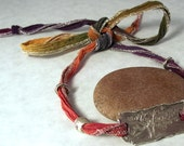 Tree of Life Rustic Sterling Silver Hand-Dyed Silk Ribbon Bracelet/Necklace/Anklet