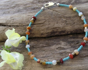 Mexican Fire Opal Anklet - Ethnic Tribal Brass Beads - Turquoise Seed Bead - 9 Inches Long