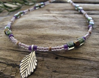 Sterling Silver Leaf Charm Beaded Anklet - Purples - Greens - Tribal Brass Beads - Sandalwood Beads - Magnetic Clasp - 9.5 Inches Long
