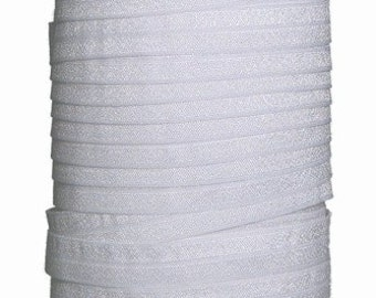 1 Inch White Fold Over Elastic FOE 50 yds Roll