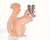 Note card. 5x7, Squirrelelope. Watercolor. Original artwork.
