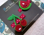 Cherry and Watermelon Hair Clip Set, Set of Fruit Hair Clippies, Girl Barrette, Red Hair Clippies