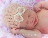 Organic Pink Newborn Baby Soft Wool Bow Hat
