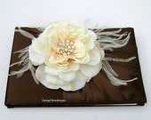 Wedding Guest Book - READY TO SHIP - chocolate brown and creamy ivory