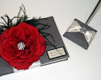Wedding Guest Book and Pen Set - Custom Made