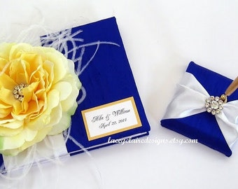 Wedding Guest Book & Pen Set - Custom made to order in your colors