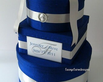 Wedding Gift Box Card Holder -  Royal Blue Silver Custom Made