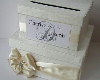 Wedding Card Box Money Box Card Holder - Custom Made to Order - Made with 100% Silk Dupioni