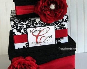 Wedding Card Box Wedding Card Gift Card Holder - Black and White Damask - Custom Made