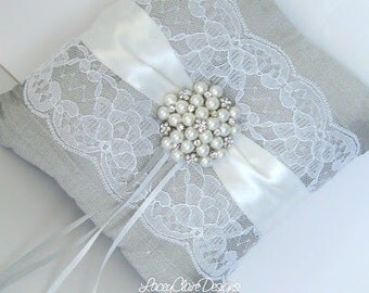 Lace Ring Bearer Pillow for wedding - made from dupioni silk Custom Made