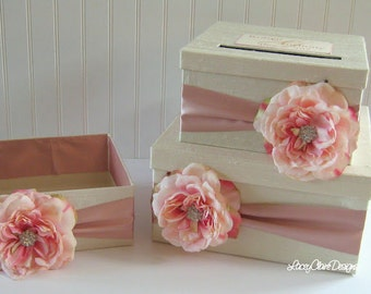 Wedding Card Box, Money Card Box, Gift Card Box Holder Black Champagne You customize colors and accessories