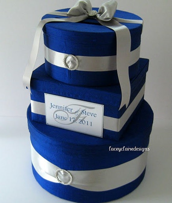 Wedding Cake Ideas Royal Blue: Wedding Gift Box Card Holder Royal Blue Silver Custom Made