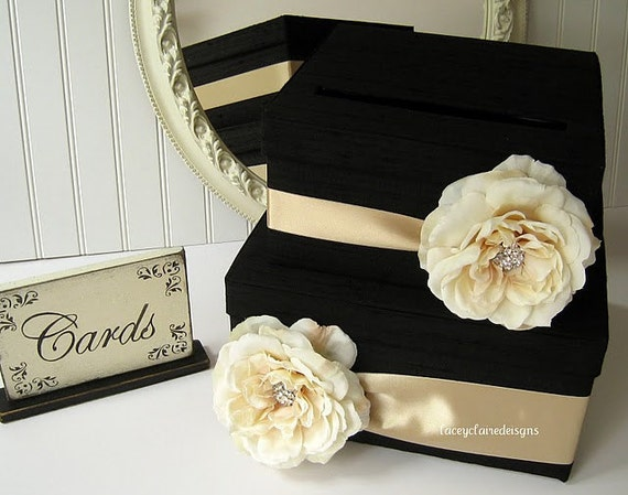 Wedding Gift Box Etsy : Wedding Card Box, Money Card Box, Gift Card Box Holder Black Champagne ...