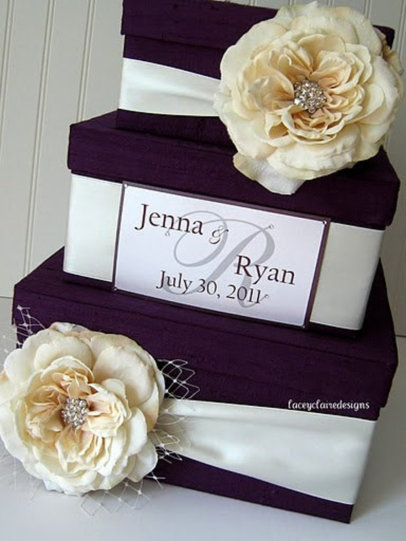 Wedding Card Box Money Box Custom Card Box - Plum and Antique Ivory - 100% Dupioni Silk