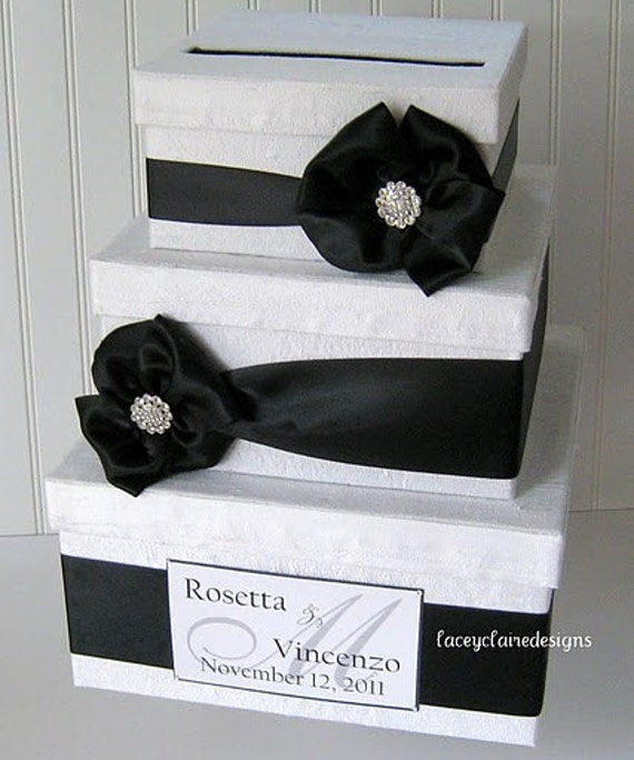 Black And White Wedding Gift Card Box : Wedding Card BoxBlack and WhiteCustom Made to Order