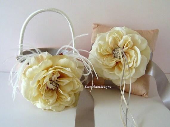 Flower Girl Basket And Wedding Ring Pillow Ring Bearer Pillow Set