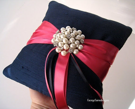 Ring Bearer Pillow Custom Wedding Ring Pillow Dupioni Silk