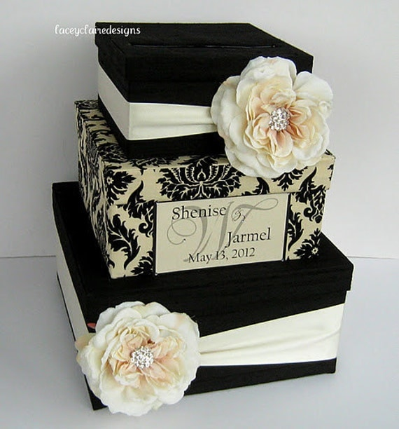 Unique Wedding Card Holder Ideas: Card Box Damask Wedding Card Holder Custom Made