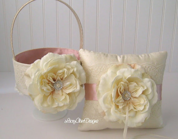 Flower Girl Basket and Wedding Ring Pillow Set - Custom Made