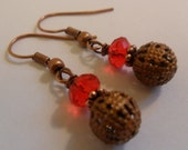 Red Antique Copper Dangle Earrings