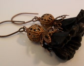 Dangle Frosted Black Calla Lilly Flower Lucite Earrings