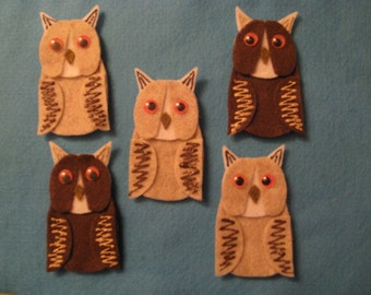 5 Owl Felt Finger Puppets with laminated rhyme