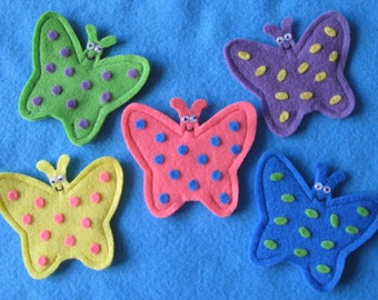 5 Little Butterflies Finger Puppets with rhyme