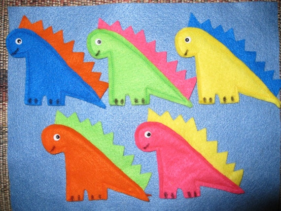 Set of 5 Dinosaurs Finger Puppets