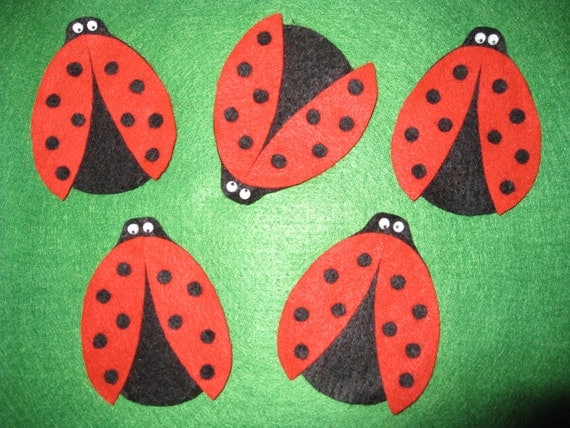 5 Ladybug Finger Puppets with laminated rhyme, handcrafted from felt
