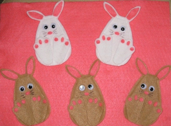 5 Little Bunnies Finger Puppets with laminated rhyme, handcrafted from felt, preschool