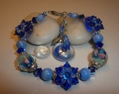 Flowers In Blue Lampwork Bracelet ON SALE!