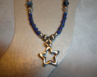 Pretty Blue And Silver Star Ankle Bracelet