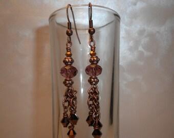 Pretty Copper Dangle Earrings