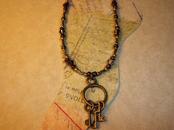 Antique Brass Key Ring Ankle Bracelet
