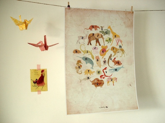 A3 size Animals Alphabet Poster in vintage style