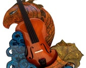 Seager DECORATIVE VIOLIN HANGER, the look of inlaid glass that frames your instrument while holding but fills the wall when playing