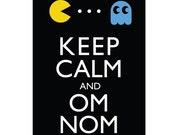 Keep Calm and Om Nom - 8x10 pacman vintage video game geek print