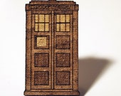 TARDIS Police Box  wooden pin back brooch - 1 1/2 inch