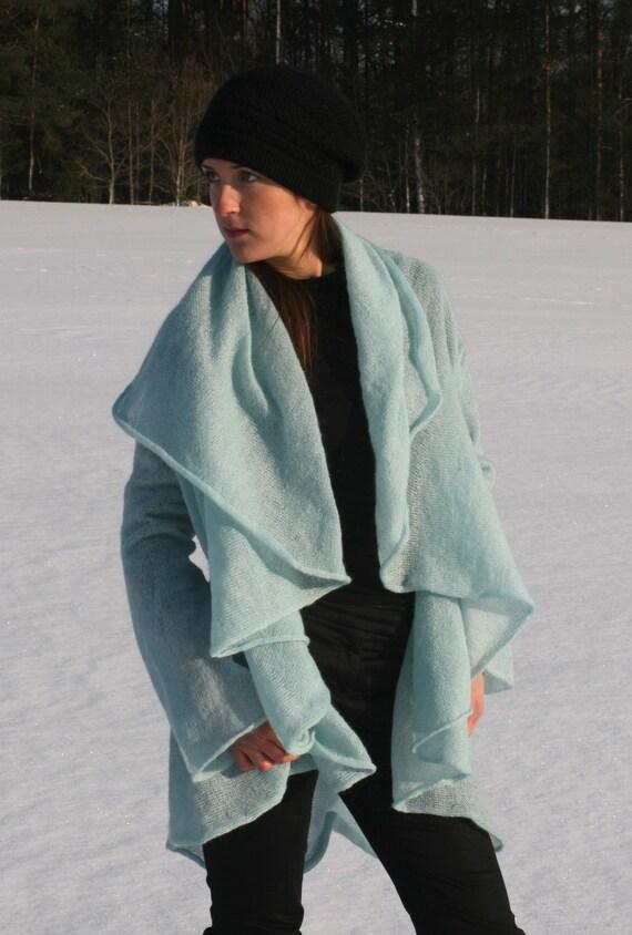 Azure/ light blue jacket, cardigan, kidmohair