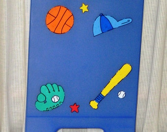 Personalized  Blue Sport Clip Board with Storage