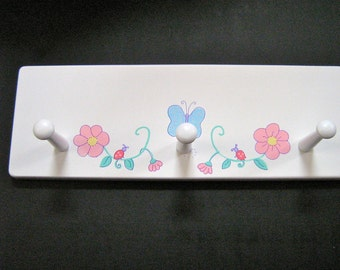 Personalized Hand Painted 3 Peg Wall Plaque