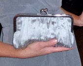 Bridal Clutch Bridesmaid Clutch Steel Grey Dupioni Gathered Silk  CUSTOMIZE Holiday New Years Christmas