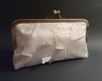 Bridal Clutch Ivory Organza Flower