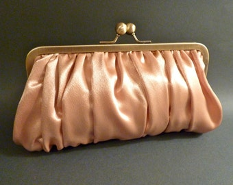 Bridal Clutch or Bridesmaid Clutch Gold Gathered Satin