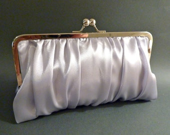 Bridal Clutch or Bridesmaid Clutch Silver Satin Gathered