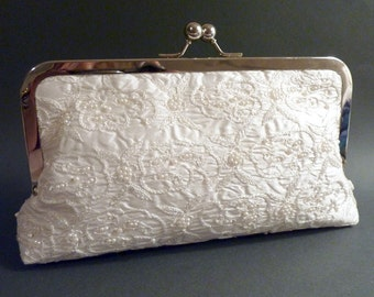 Bridal Clutch Ivory Silk and Pearl Bag Couture