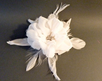 Fascinator Chiffon Peony with Rhinestone and Feathers Ivory or White