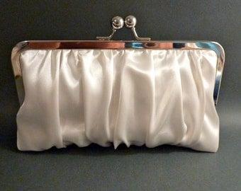 Bridal Clutch Ivory or White Gathered Satin
