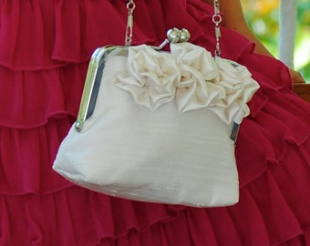 Flower Girl Clutch with 3 Rosettes Couture Silk Dupioni